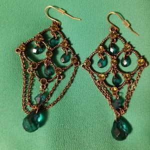 Chandelier Earrings Gold with Teal & Green